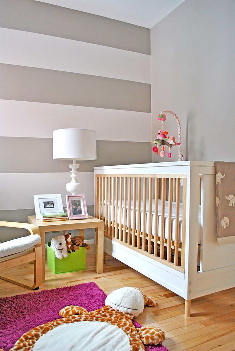 Cool stripes look great in the girls' nursery as well [Design: Hunter Studio]