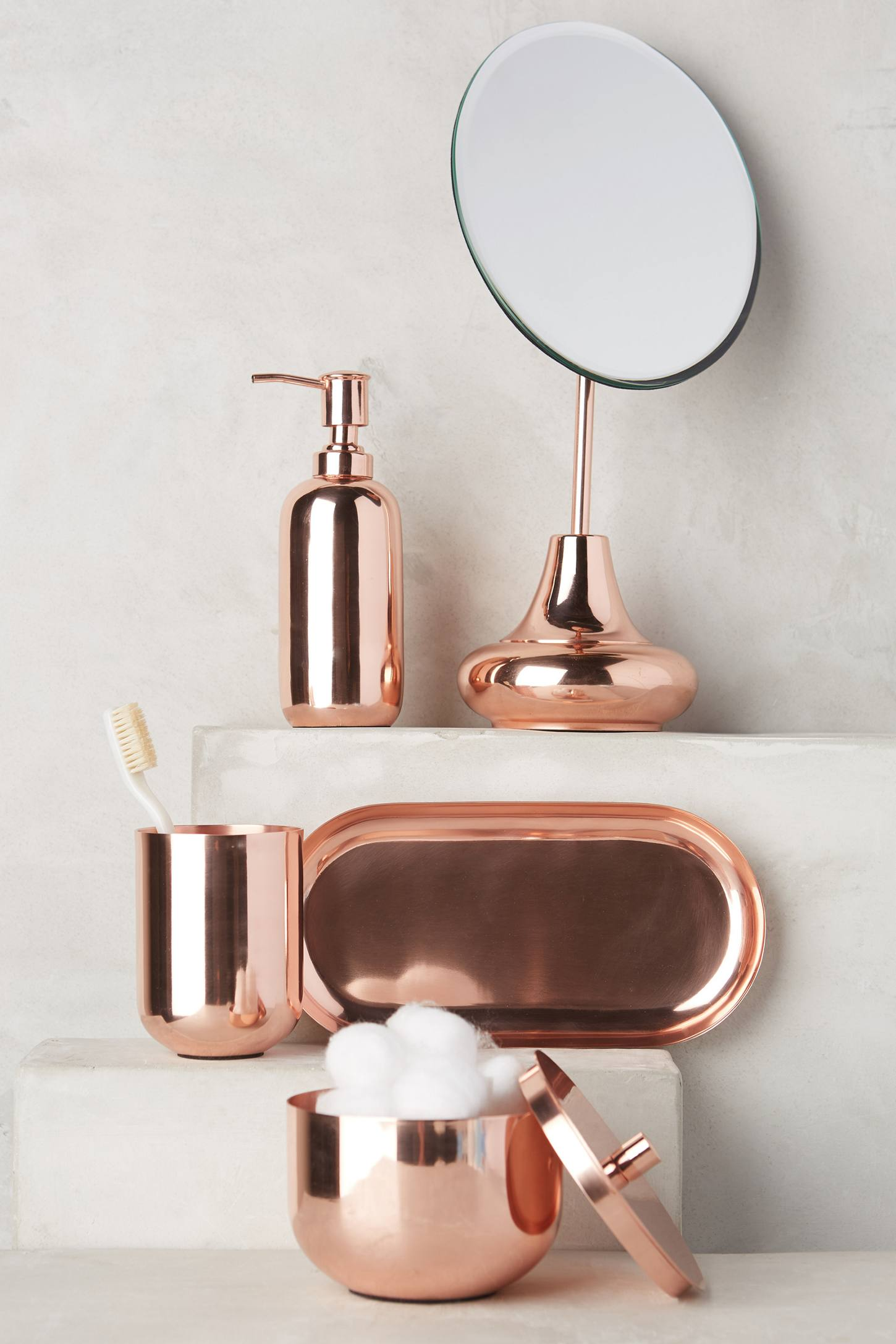 The warm glow of copper decor for Accessories for the bathroom