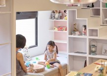 Corner kids' nook and shelving idea
