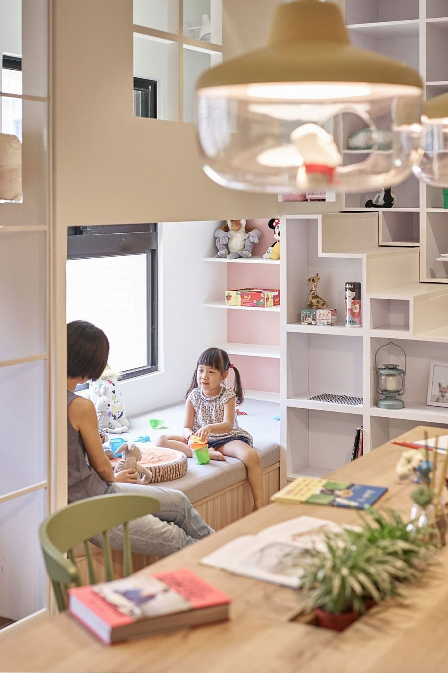 Corner kids' nook and shelving idea