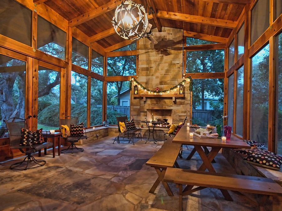 Cozy rustic screened porch [Design: Levy Kohlhaas Architecture]