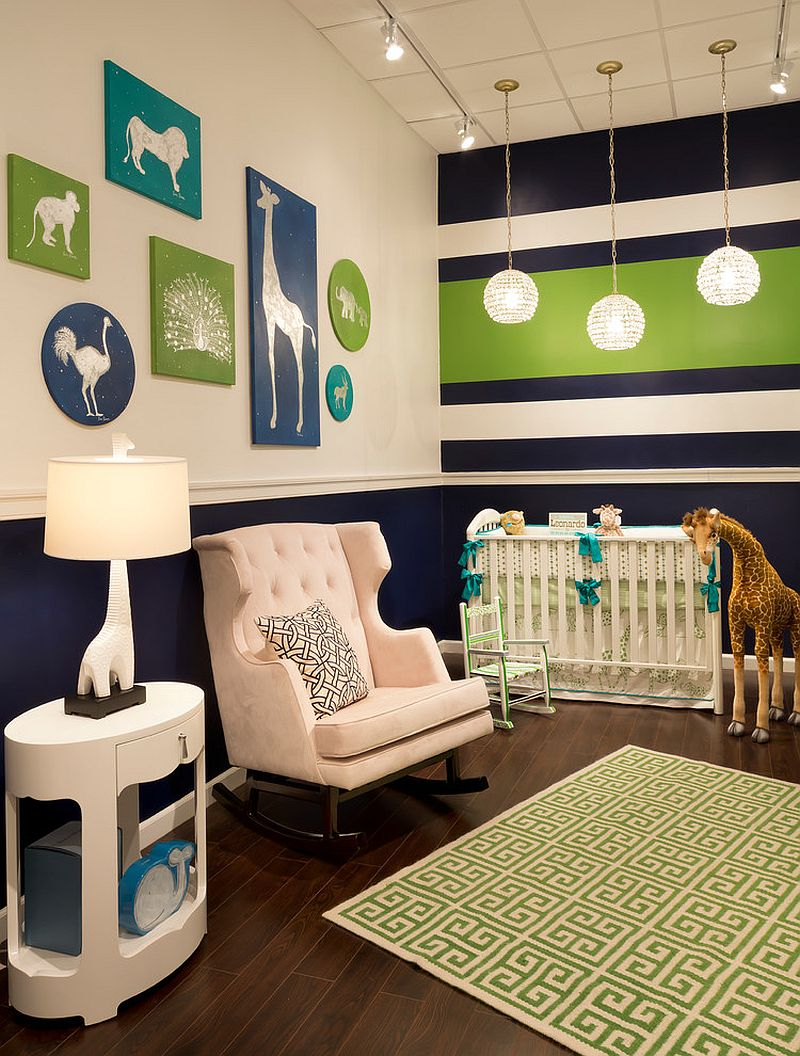 Creative nursery in green, navy blue and white [From: Bellini Baby and Teen Furniture]