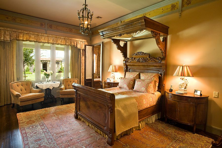 View in gallery Custom Victorian canopy design in the bedroom [Design:  Anderson Custom Homes]
