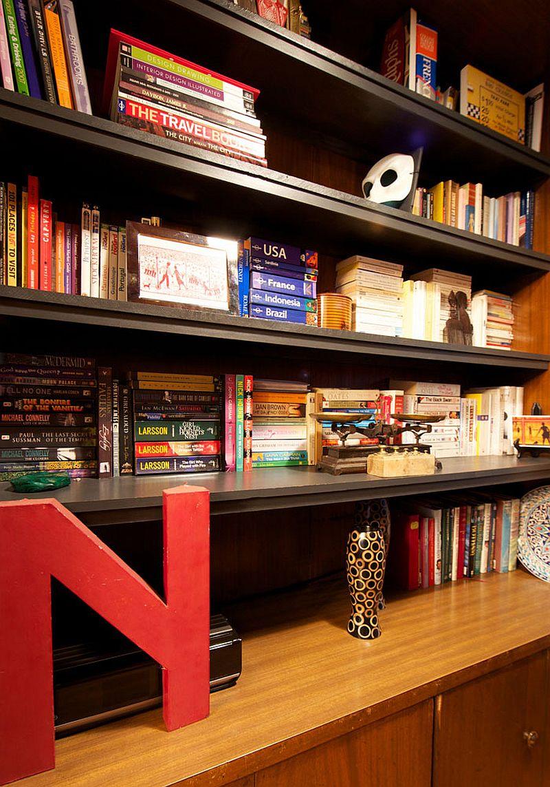 Custom bookshelf adds color to the interior