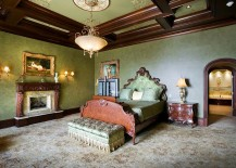 Custom ceiling designs with ornate patterns are perfect for the Victorian bedroom