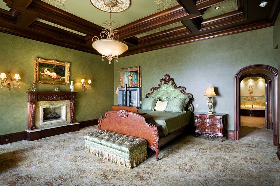 View in gallery Custom ceiling designs with ornate patterns are perfect for  the Victorian bedroom [Design: Electronics