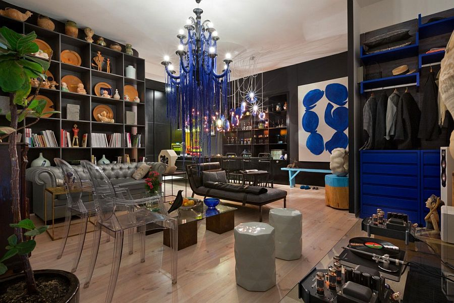 Custom decor designer touches and brilliant shades of blue define the House of Ideas in Kiev House of Ideas: Incredible Fusion of Art, Sculpture and Eclectic Genius!