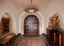 Custom designed doors and ceiling for the Mediterranean entry 217x155 Mediterranean Entry Ideas: An Air of Timeless Majesty!