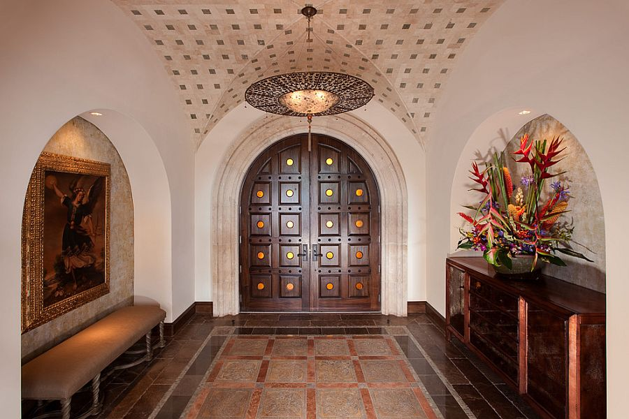 Custom designed doors and ceiling for the Mediterranean entry [Design: JAUREGUI Architecture Interiors Construction]