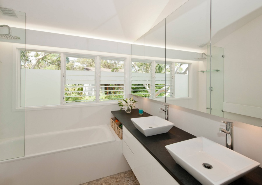 View In Gallery Custom Made Vanity In A Crisp, Modern Bathroom