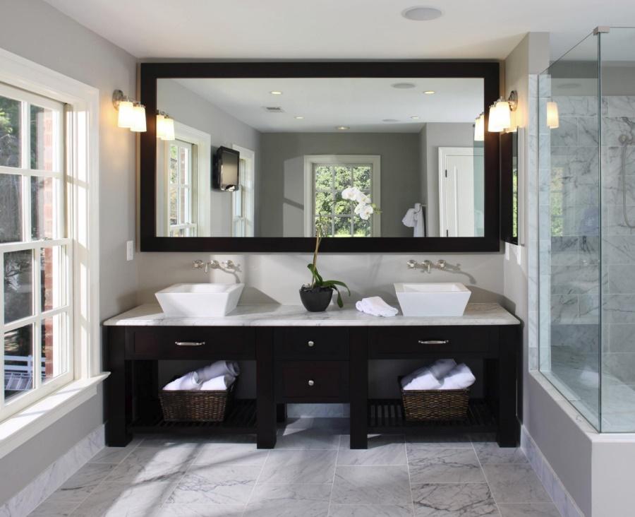 Custom vanity with dark wood