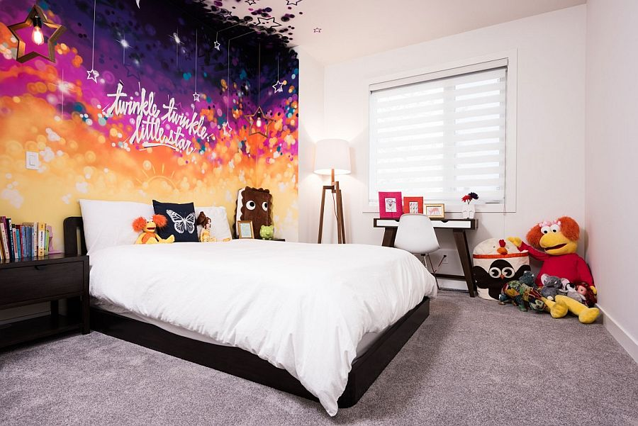 Custom wall mural adds color to the neutral kids' room