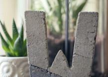 DIY concrete letter 217x155 Cool Concrete Accessory Ideas