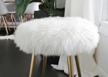 DIY furry stool from A Beautiful Mess 217x155 10 Trendy DIY Projects to Try in 2016