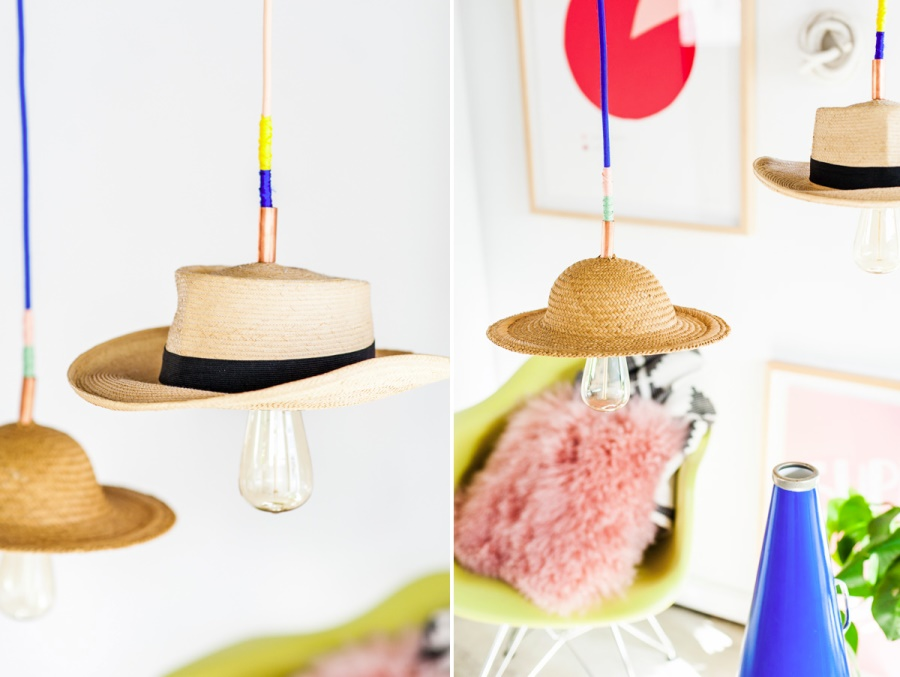 DIY hat pendant lights from Paper & Stitch