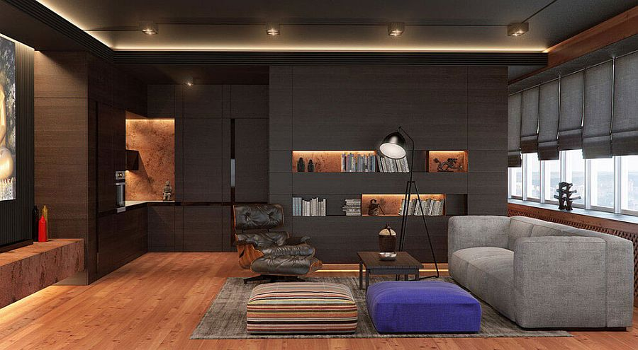 Dark walls give the apartment a masculine, modern vibe