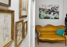 Dashing gallery wall and antiques for a cheerful, eclectic home