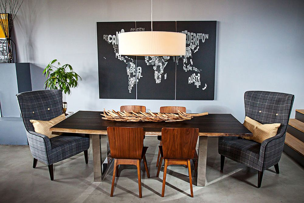 Dining area with contemporary vibe and a unique world map backdrop