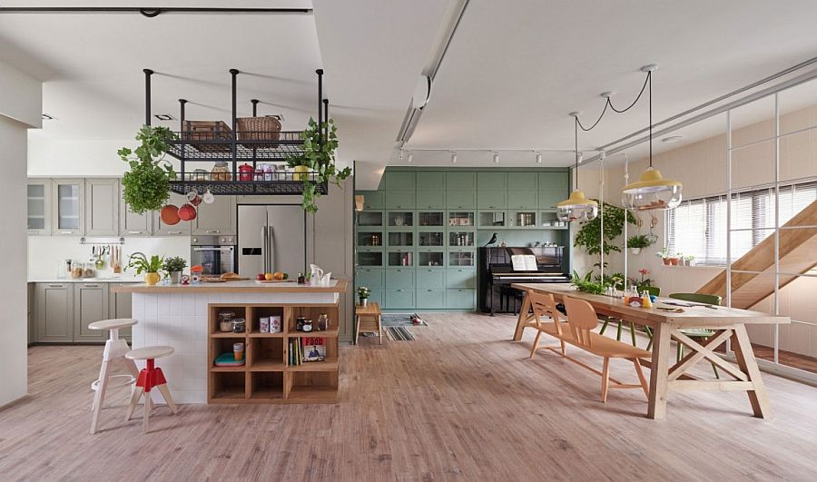 Dining room and kitchen inside an open plan family zone