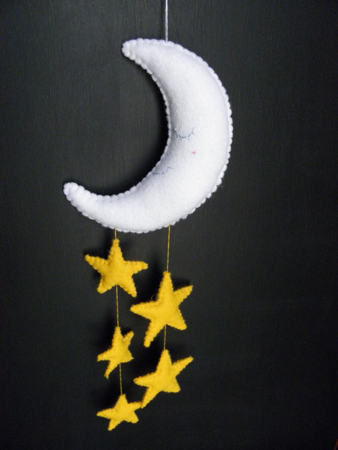 Dreamy felt moon and star mobile