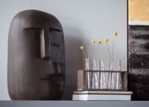 Eclectic collection of sculptural pieces adds to the contemporary ambiance of the loft home