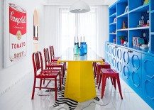 Eclectic dining room is all about bold color 217x155 Visual Feast: 25 Eclectic Dining Rooms Drenched in Colorful Brilliance!