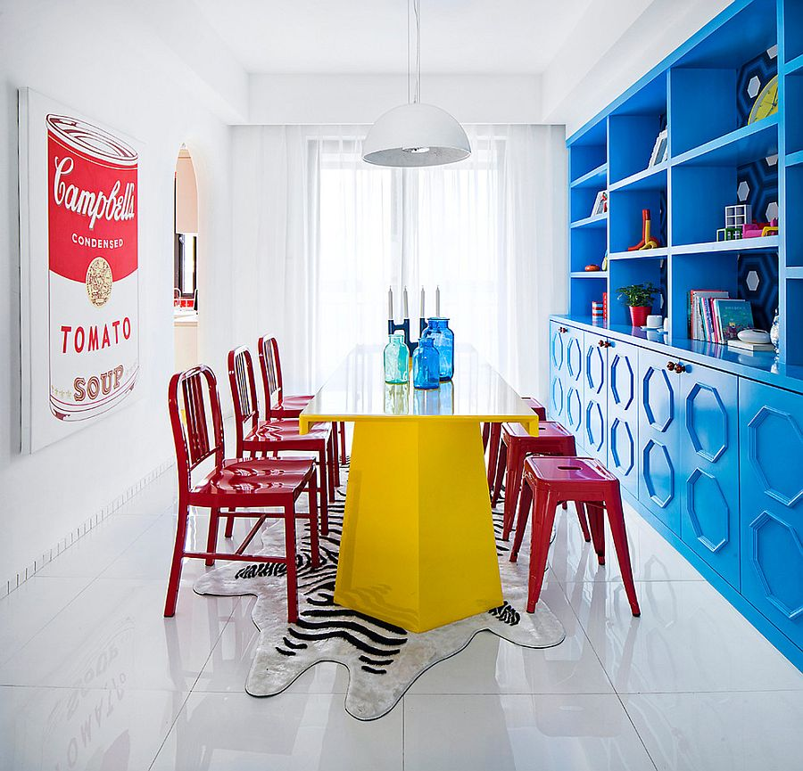 View In Gallery Eclectic Dining Room Is All About Bold Color Design Taomi