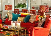 Eclectic family room with plenty of color