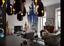 Eclectic living area with brick walls custom decor and fun pops of color 217x155 House of Ideas: Incredible Fusion of Art, Sculpture and Eclectic Genius!