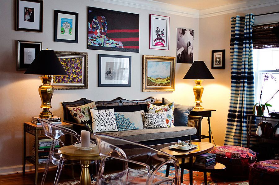 Eclectic living room with a lovely gallery wall [From: Jessica McKay]