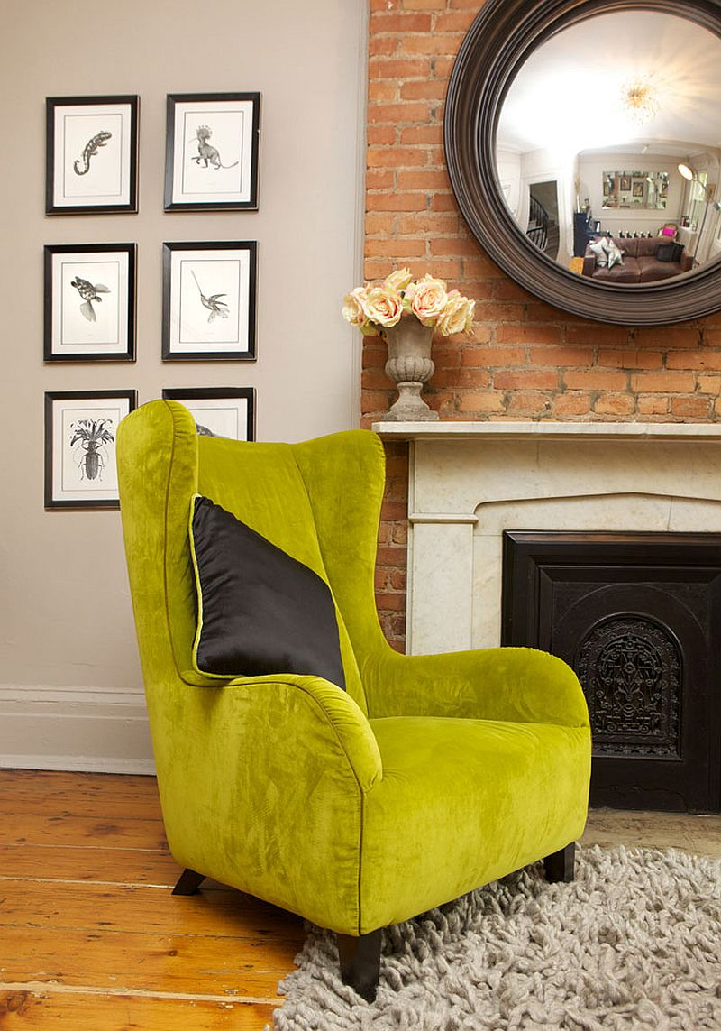 Elegant lime green chair adds classic charm to the contemporary townhouse makeover