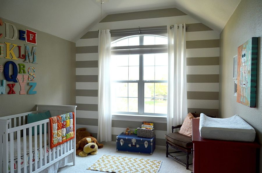 Elegant nursery for a baby boy with striped feature wall [From: Nessa Dee]