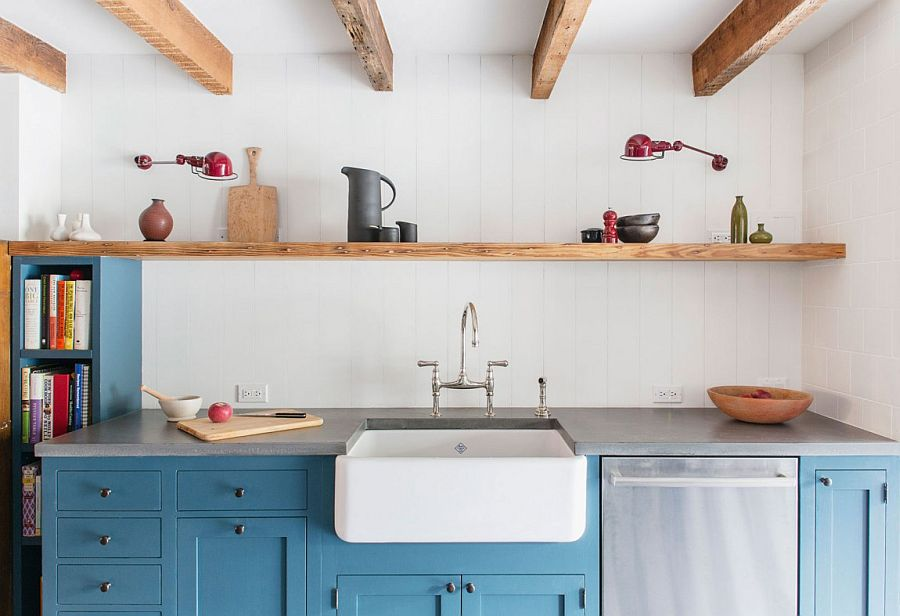 Elegant use of sleek floating wooden shelf in the kitchen