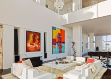 Expansive living room of the luxury apartment in New York City