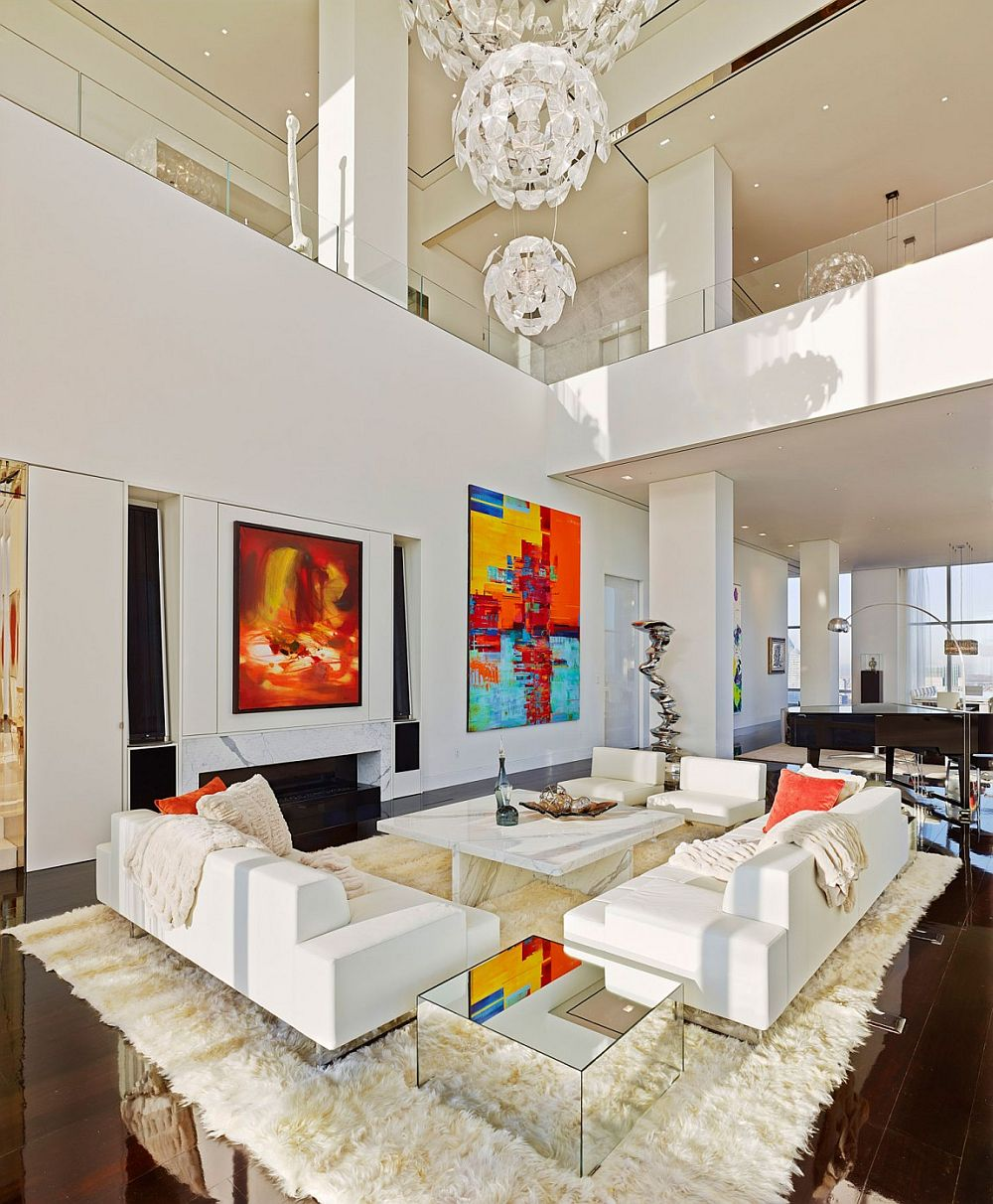 view in gallery expansive living room of the luxury apartment in new york city - Manhattan Penthouse Apartments