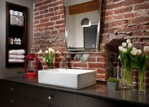 Exposed brick backsplash for the modern industrial bathroom 217x155 Rugged and Ravishing: 25 Bathrooms with Brick Walls