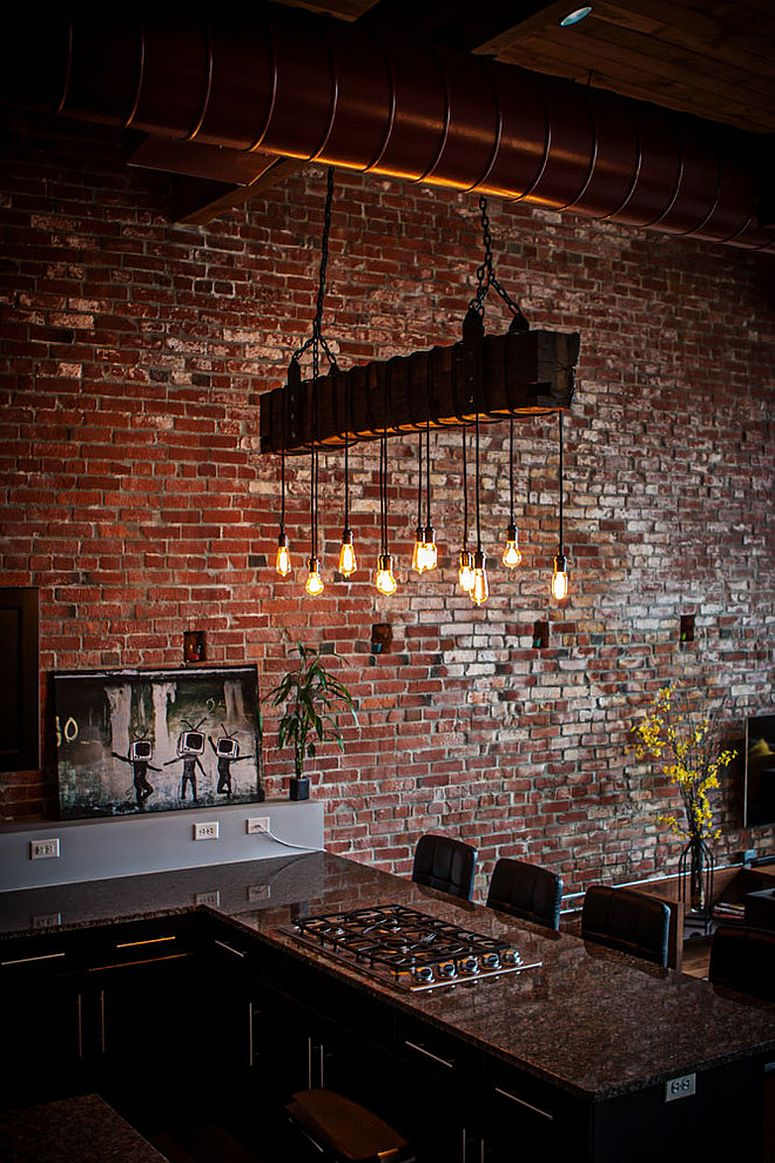 And lighting create a distinct modern industrial style in the kitchen