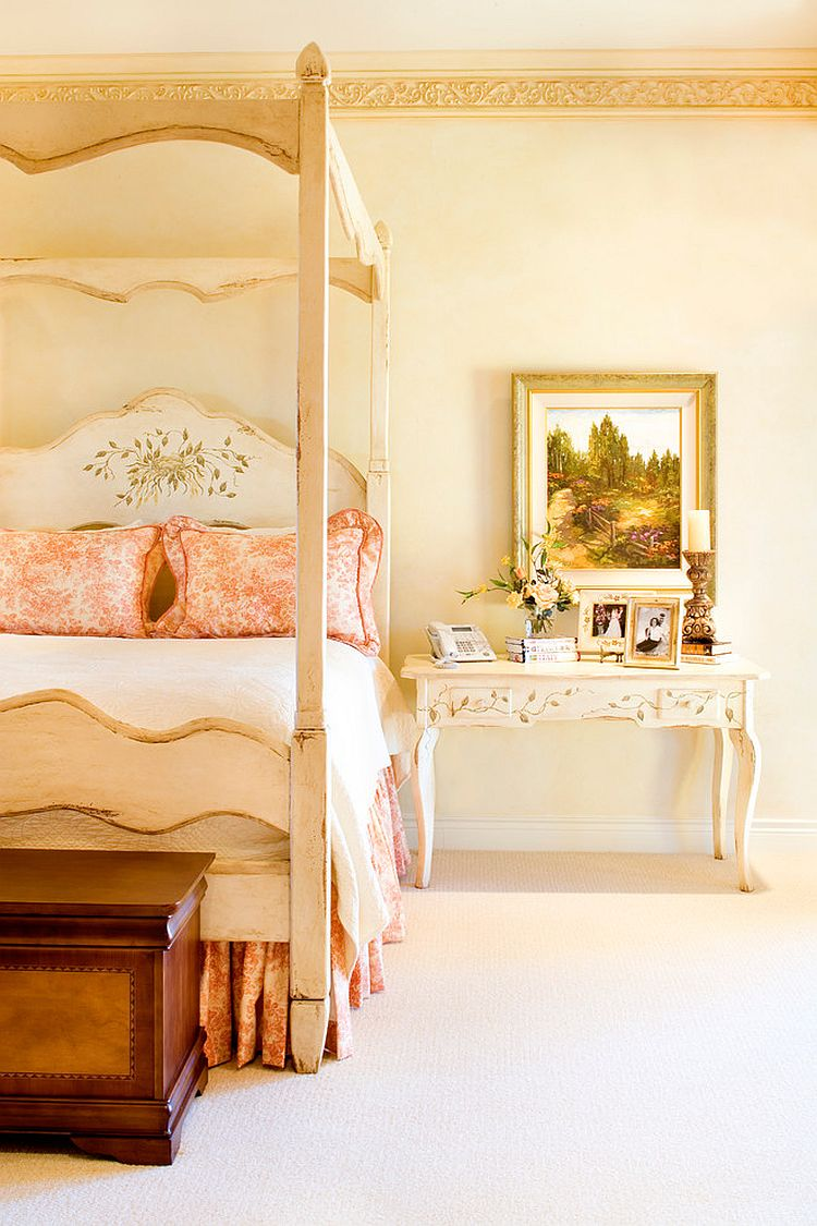Exquisite Victorian bedroom in a Tuscan home showcases a touch of romanticism [Design: Linda McCalla Interiors]