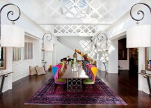 Exquisite dining room with uber cool chairs celebrates color even while keeping the backdrop neutral 217x155 Visual Feast: 25 Eclectic Dining Rooms Drenched in Colorful Brilliance!