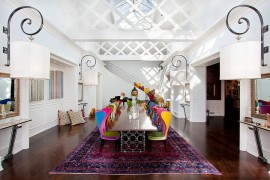 Exquisite dining room with uber cool chairs celebrates color even while keeping the backdrop neutral 270x180 Visual Feast: 25 Eclectic Dining Rooms Drenched in Colorful Brilliance!