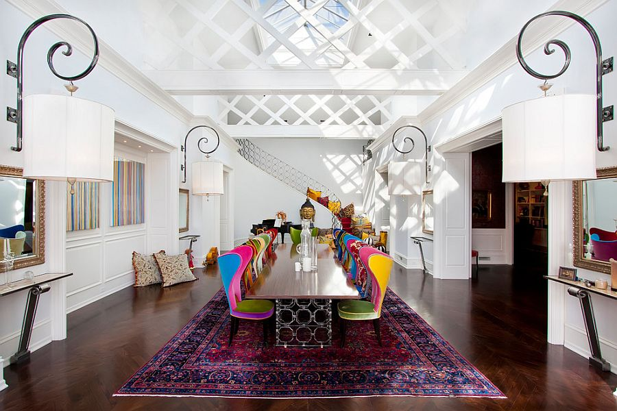 Exquisite dining room with uber-cool chairs celebrates color even while keeping the backdrop neutral [From: IC360 Images / Jim Tschetter]