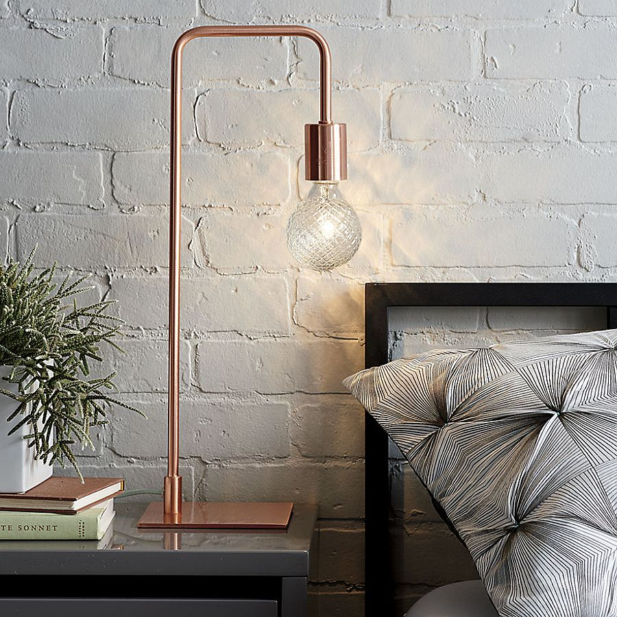 Lighting it right how to choose the perfect table lamp view in gallery fabulous copper table from cb2 is a hot seasonal decor piece geotapseo Images
