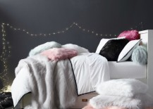 Faux fur pillow covers from RH Teen