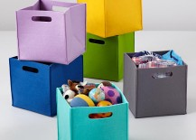 Felt cube bins from The Land of Nod 217x155 Project Organization: Decor for Sorting, Stashing and Storing