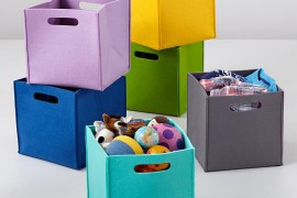 Felt cube bins from The Land of Nod 270x180 Project Organization: Decor for Sorting, Stashing and Storing