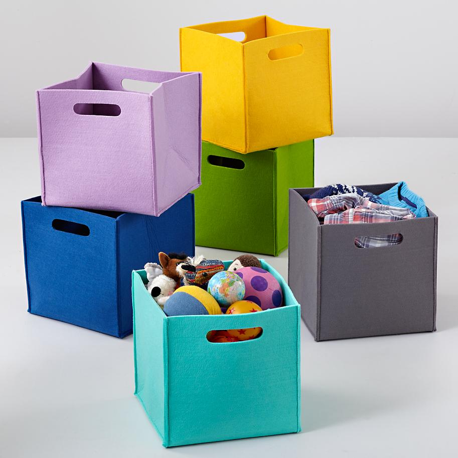 View In Gallery Felt Cube Bins From The Land Of Nod
