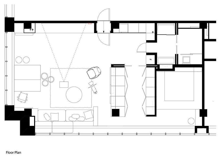 Floor plan of modern office apartment