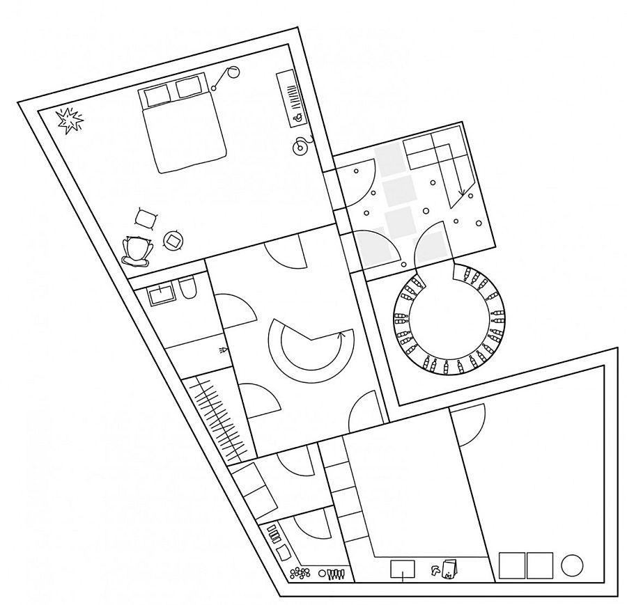 Floor plan of the basement level of Molle By The Sea
