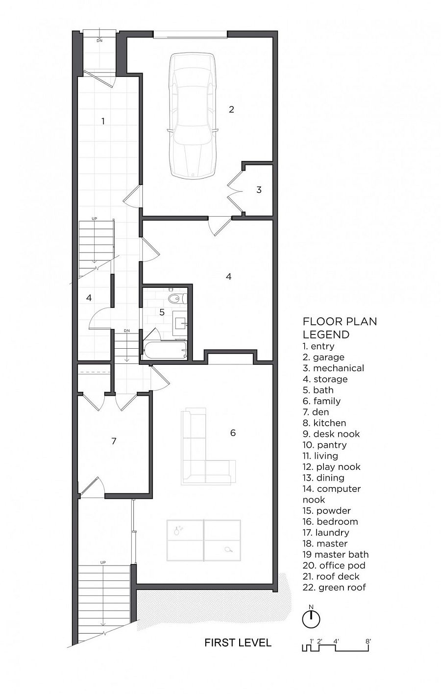 Floor plan of the first level of Fifty wun