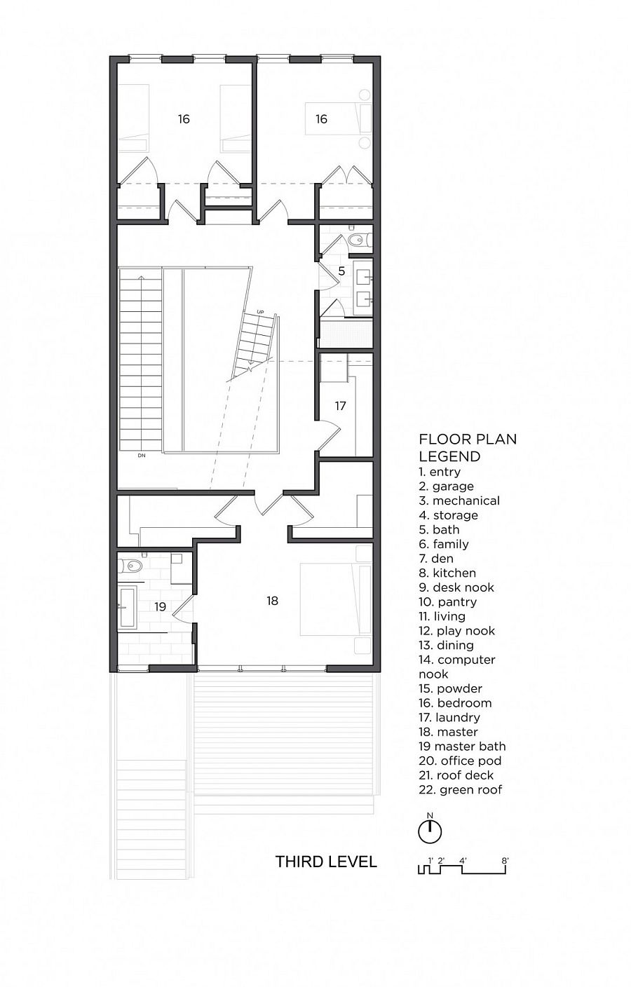 Floor plan of the master bedroom level